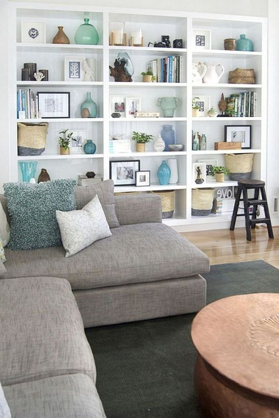 60 Simple But Smart Shelves Decorations For Living Room Storage Ideas Living Room Turquoise Living Room Bookcase Living Room Shelves