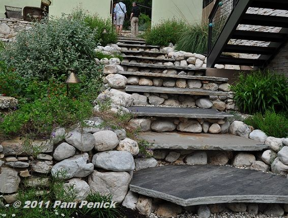 Landscaping With Slate Rock : Rock fountain wall bench garden stairs river rocks