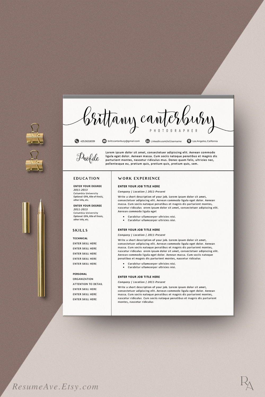 Creative Sorority Resume Template With Calligraphy Name Etsy Resume Template Word Resume Design Template Nursing Resume Template
