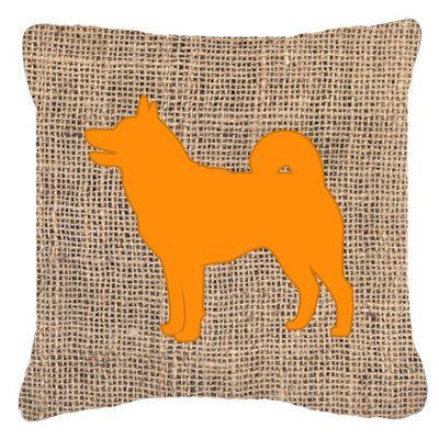 "Caroline's Treasures Shiba Inu Burlap Indoor/Outdoor Throw Pillow Size: 18"" H x 18"" W x 5.5"" D, Color: Orange"