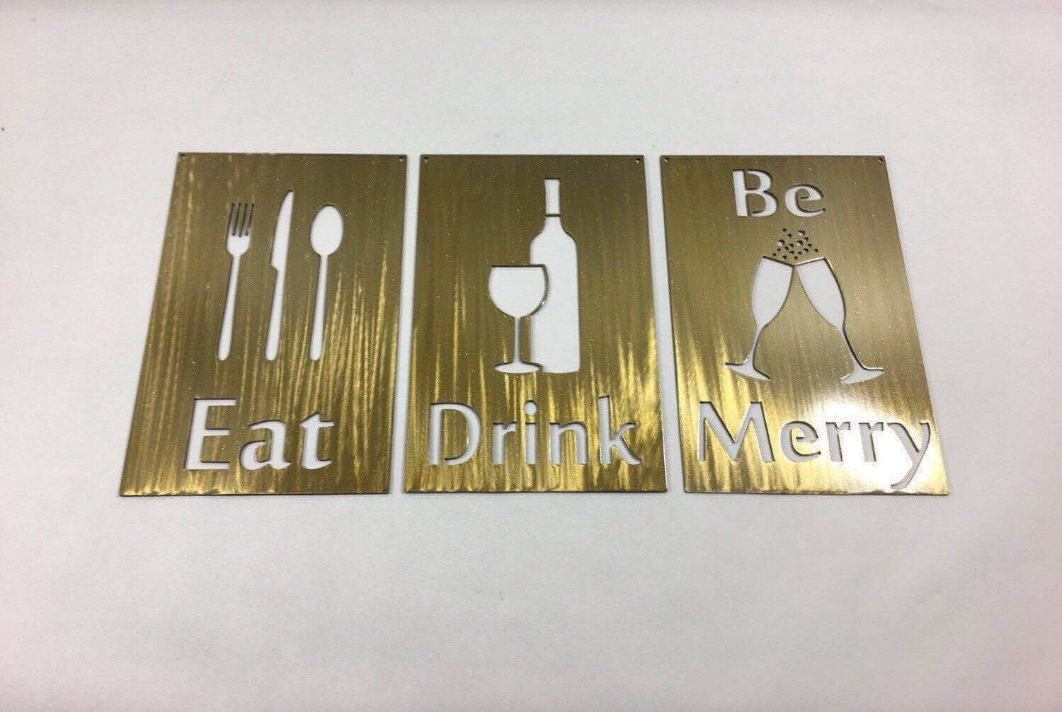 Eat drink be merry metal wall art sign wine glass champagne