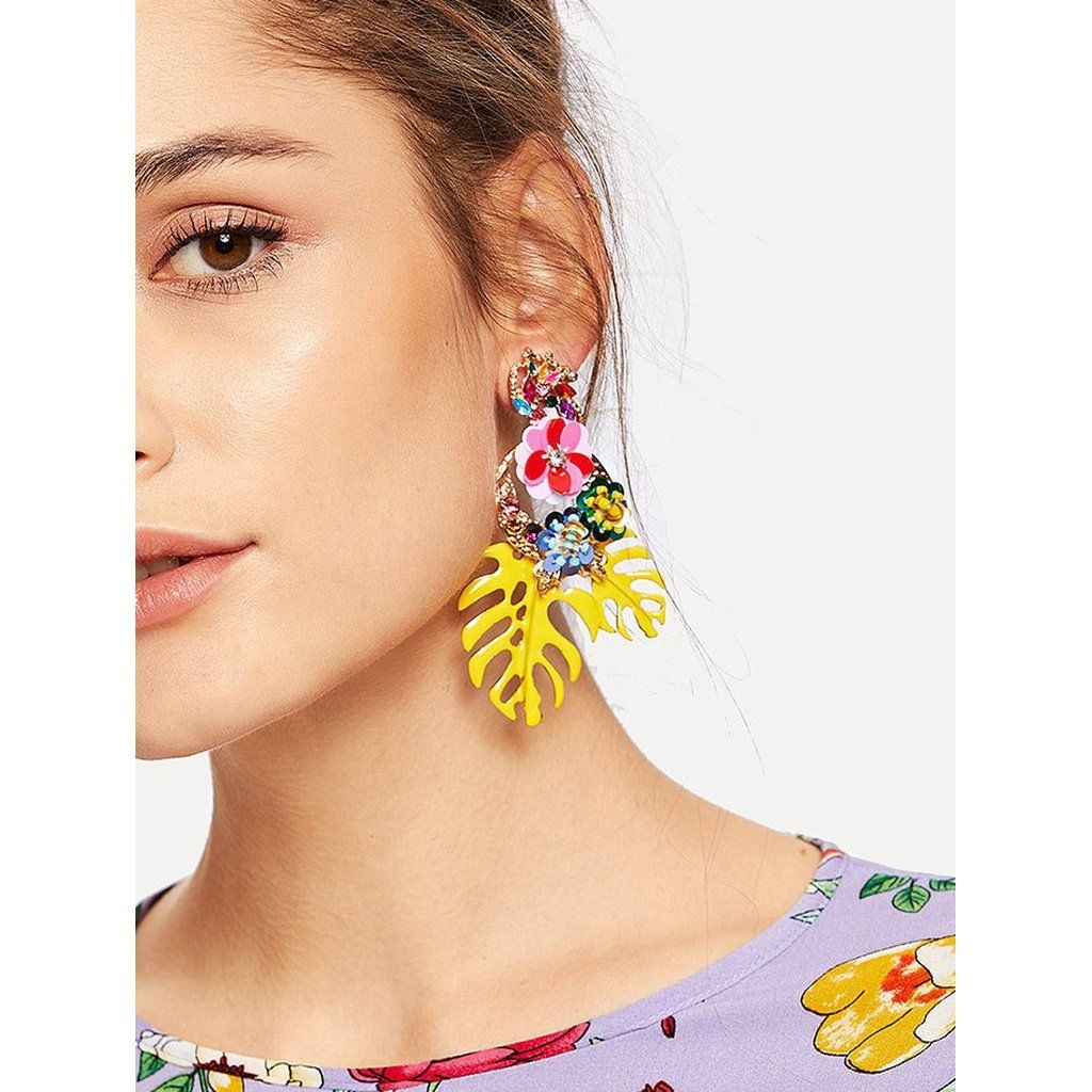 Tropical Leaves   Sequin Flower Drop Earrings - Trendy Tshirts, dresses,  heels, shoes, clothing, jewelry   stuff. Bracelets, earrings, necklaces,  rings, ... 96756c9d1b