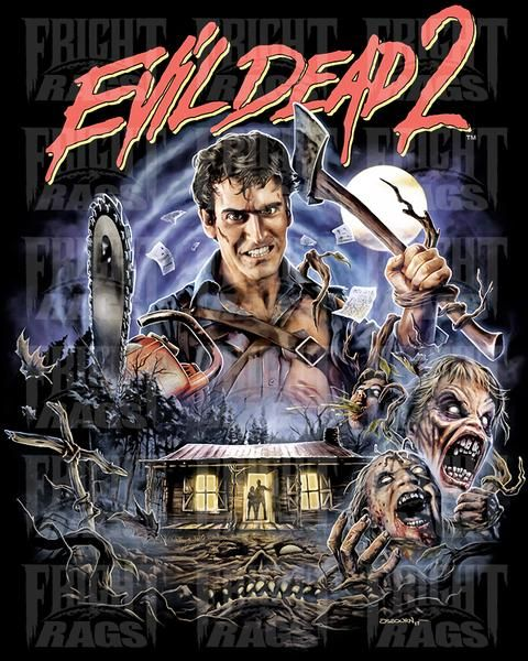 2ebca172c9a Officially Licensed EVIL DEAD 2 T-shirt! Artwork by Justin Osbourn. Printed  on our super soft 4.5oz 100% pre-shrunk ringspun cotton shirts.