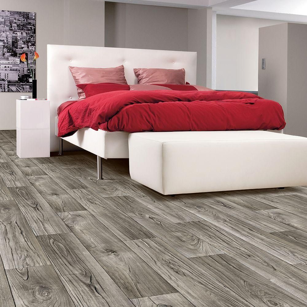 Wide Residential Vinyl Sheet X Your Choice Length, Gray/Weathered Oak With  Urethane Wear Layer