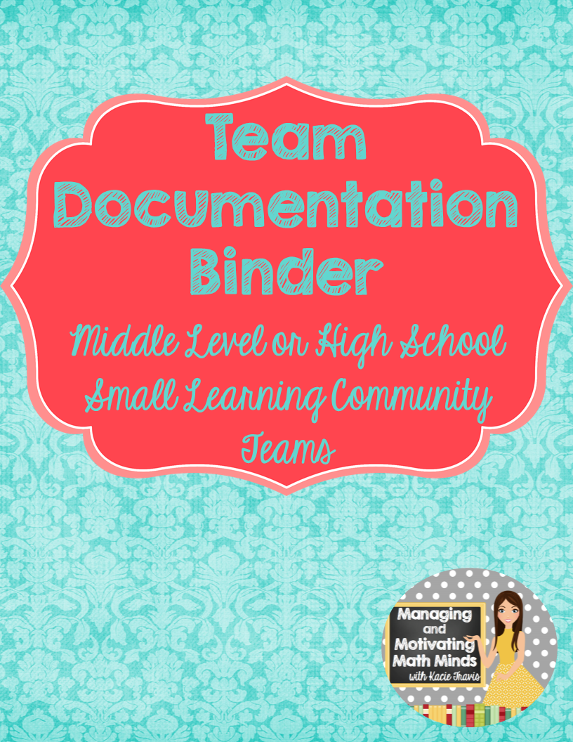 Binder for Team Organization and Documentation- Aqua and Red Theme