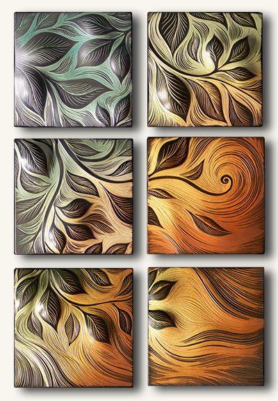 Vine Motif Handmade Sgraffito Carved Ceramic Wall Tile