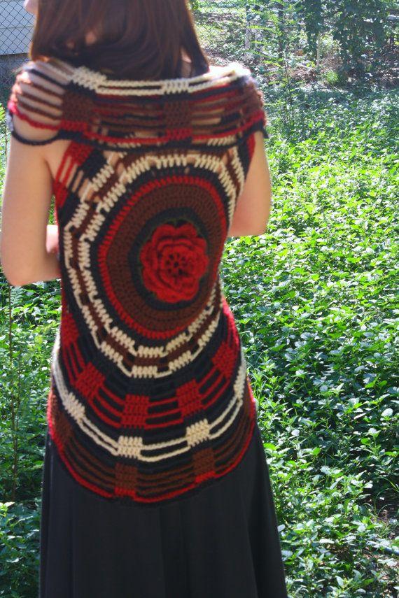 SALE Rose Crochet Spider Web / Circle Vest 30 OFF by retrotimbre