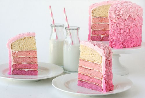 Ombre pink cake and icing is so much more interesting than either all pink or pink icing on yellow cake.  It really doesn't take much more work to produce this fabulous effect.