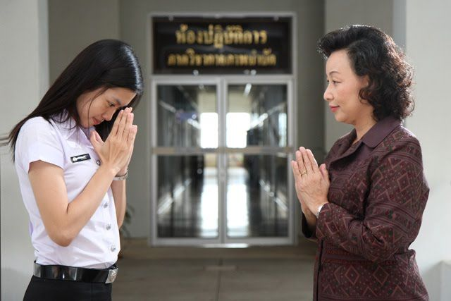 Thai people greet each other with a wai gesture younger bow head thai people greet each other with a wai gesture younger bow head to elder the elder accept a gesture the same way without bowing head m4hsunfo