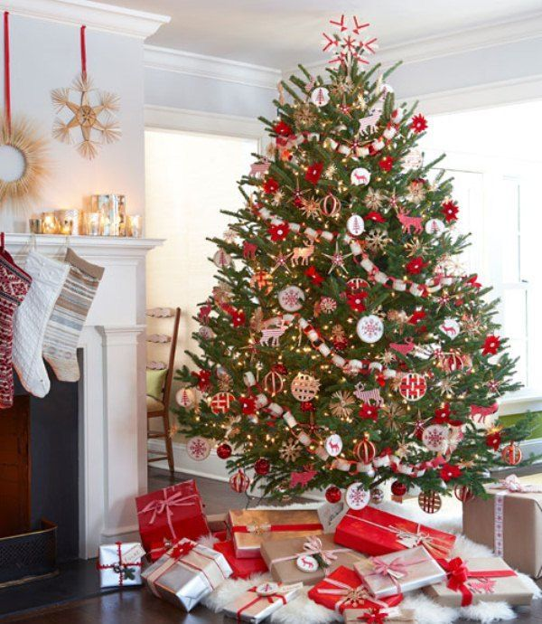 White and Red Traditional Christmas Tree Decorating Ideas