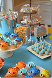 Fish Birthday Party - Food & Dessert Table. Now THIS is a cute under the Sea themed candy/dessert table ;)