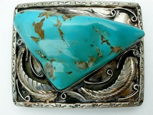 Vintage Turquoise Belt Buckle Sterling Silver Navajo Style