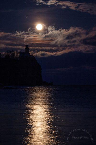Full Moon over Split Rock Lighthouse, Lake Superior, Minnesota