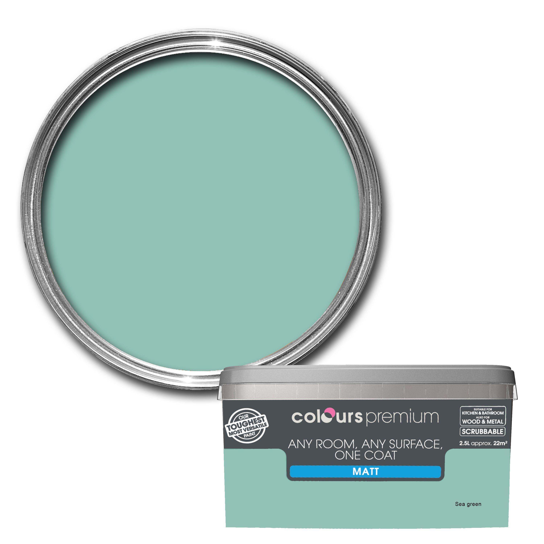 Colours Premium Any Room One Coat Sea Green Matt Emulsion Paint 2 5l Departments Diy At B Q