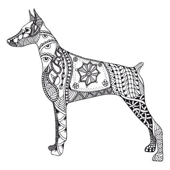 Kostenloses Ausmalbild Hund  Dobermann Die gratis Mandala