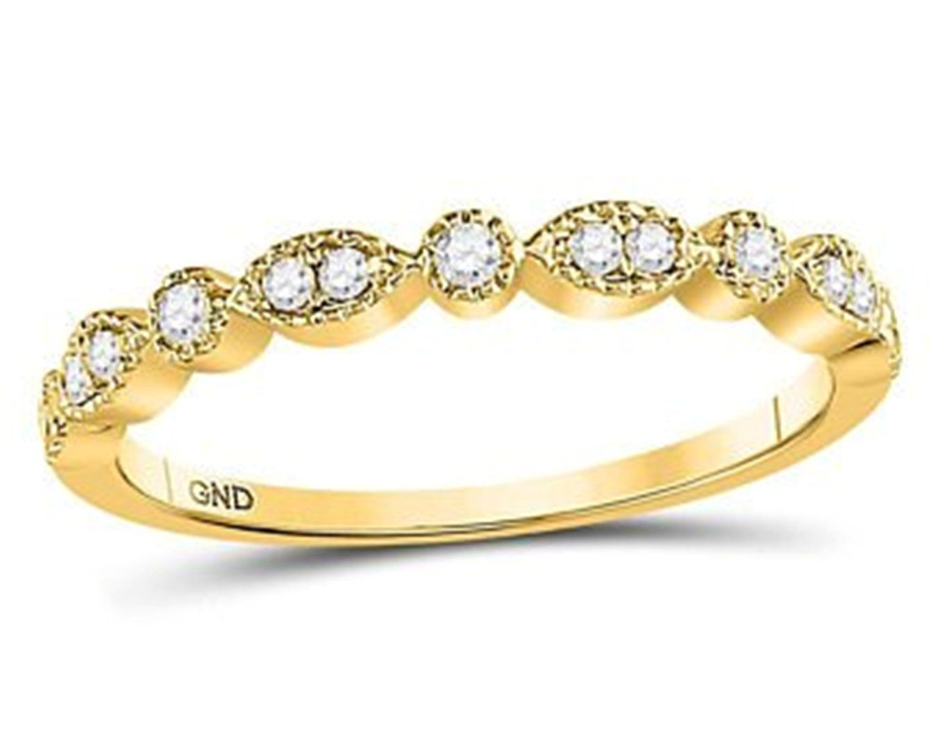10kt Rose Gold Womens Round Diamond Stackable Band Ring 1//5 Cttw