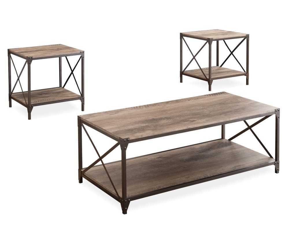 Rustic Wood Metal 3 Piece Occasional Table Set Big Lots Rustic Coffee Table Sets Rustic Coffee Tables Coffee Table [ 838 x 1000 Pixel ]