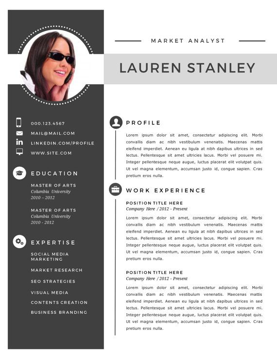 2 In 1 Modern Photo Resume Template For Ms Word Docx Cv Template Curriculum Vitae Easy To Edit Resum Modele De Cv Moderne Modele Cv Telecharger Modele Cv
