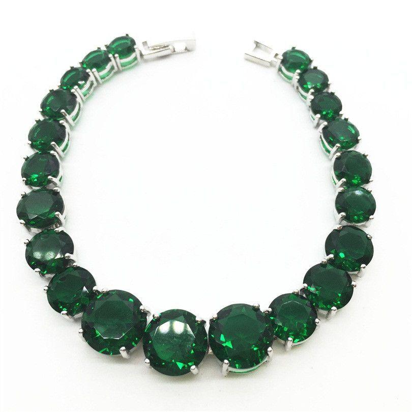 Ravishing Silver Link Chain Bracelet For Women Round Emerald Green Tanzanite Sapphire Jewelry