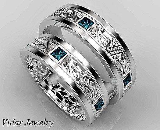 Matching Wedding Band Set His And Hers Blue Diamond