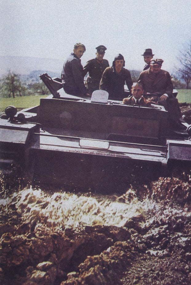 Panzer IV - Wehrtechnische Erprobung durch Albert Speer.  Reich Minister of Armaments and War production Albert Speer testing a Panzer IV prototype chassis.