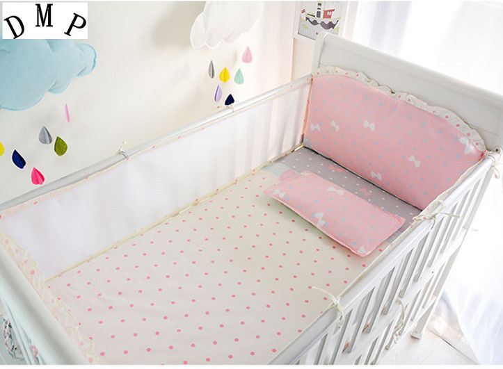 Promotion! 6PCS baby crib bedding set kids bedding set newborn baby Crib Bumper,include:(bumper+sheet+pillowcase) #Affiliate
