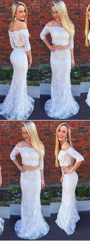 Two piece prom dresses mermaid trumpet offtheshoulder short train