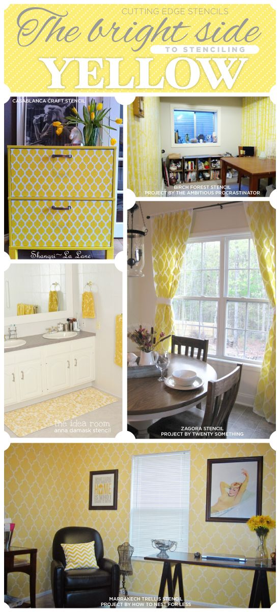 Yellow stenciled spaces and diy craft ideas to add a little sunshine on window flower box decor ideas, old country kitchen ideas, kitchen table flower arrangement ideas, neutral kitchen color ideas,