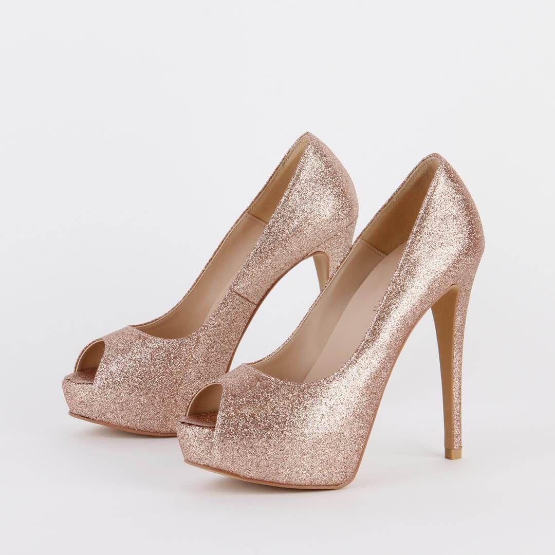 14f5eb6a992ac Petite Size Glitter Peach Heel Platforms by MIZCHI Pretty Small ...
