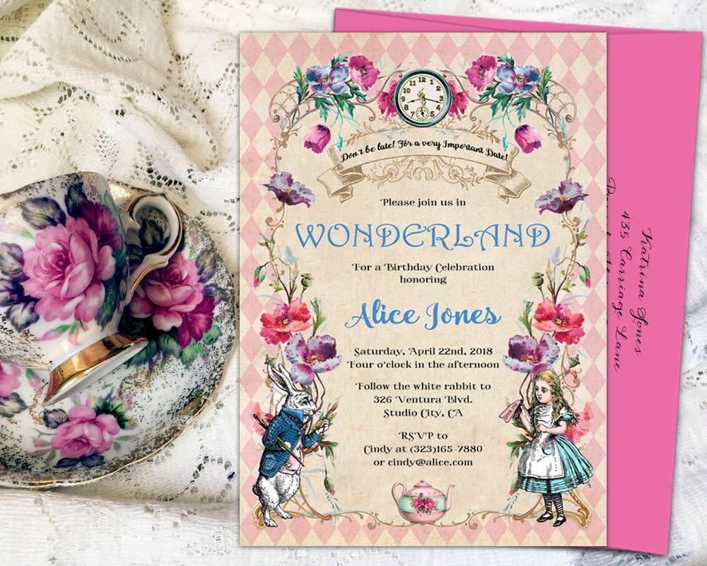 Alice in wonderland invitation, mad hatter tea party invitation ...