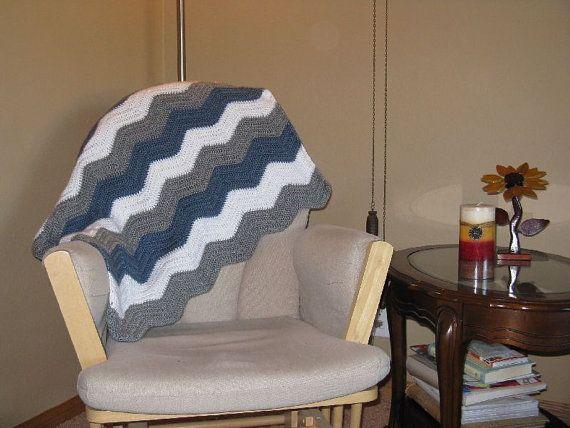 Blue gray and white handmade crochet blanket by BlanketHub on Etsy, $42.00