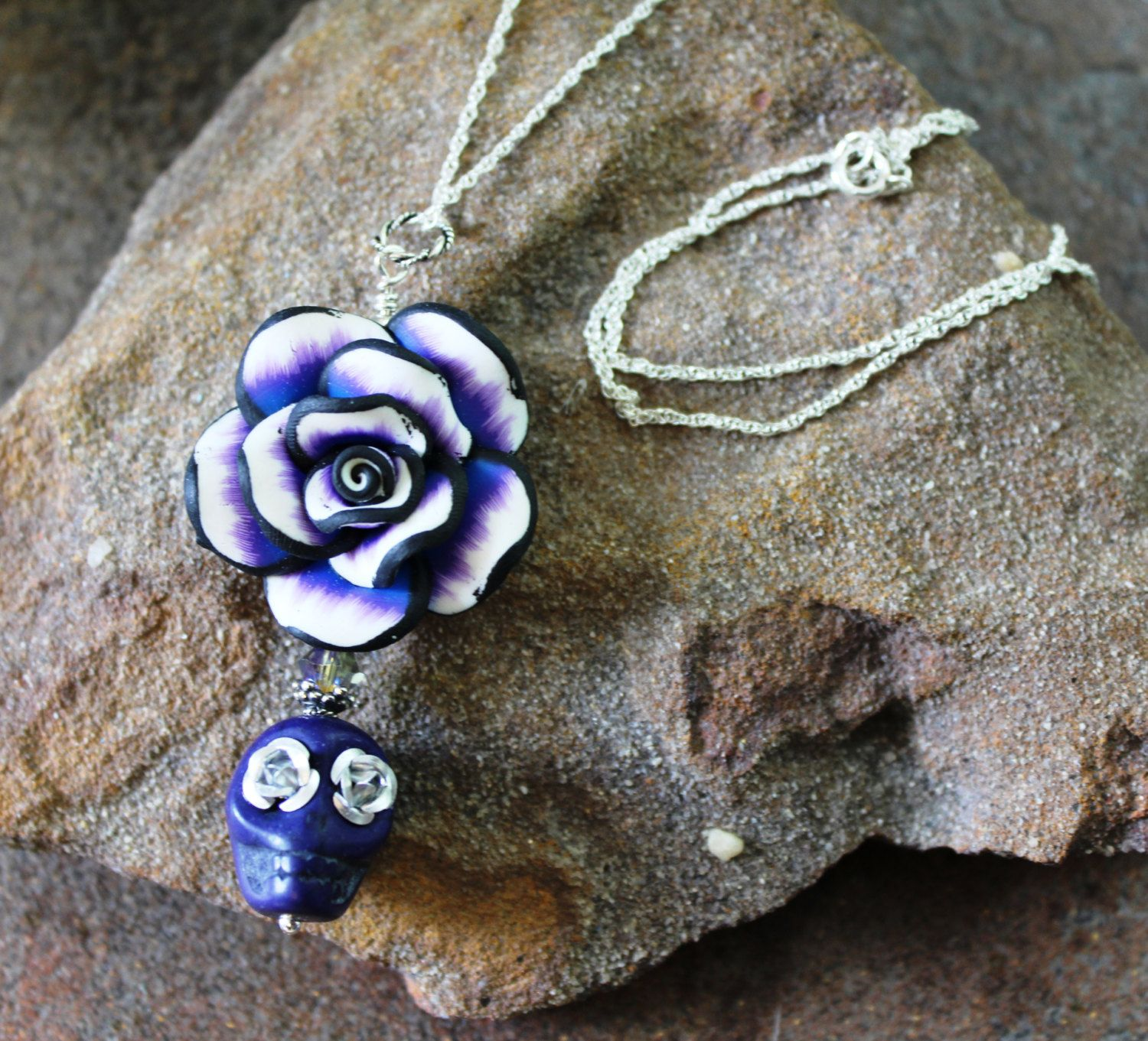 Sugar Skull with Rose Necklace | Cobalt Blue Skull with Silver Eyes | Sterling Silver | Day of the Dead Necklace | Halloween Jewelry | Goth by JensFancy on Etsy