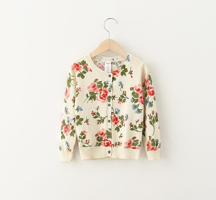 fe637291261a Princess Babies Girls Floral Print Knitting Sweaters Cardigans Beige ...