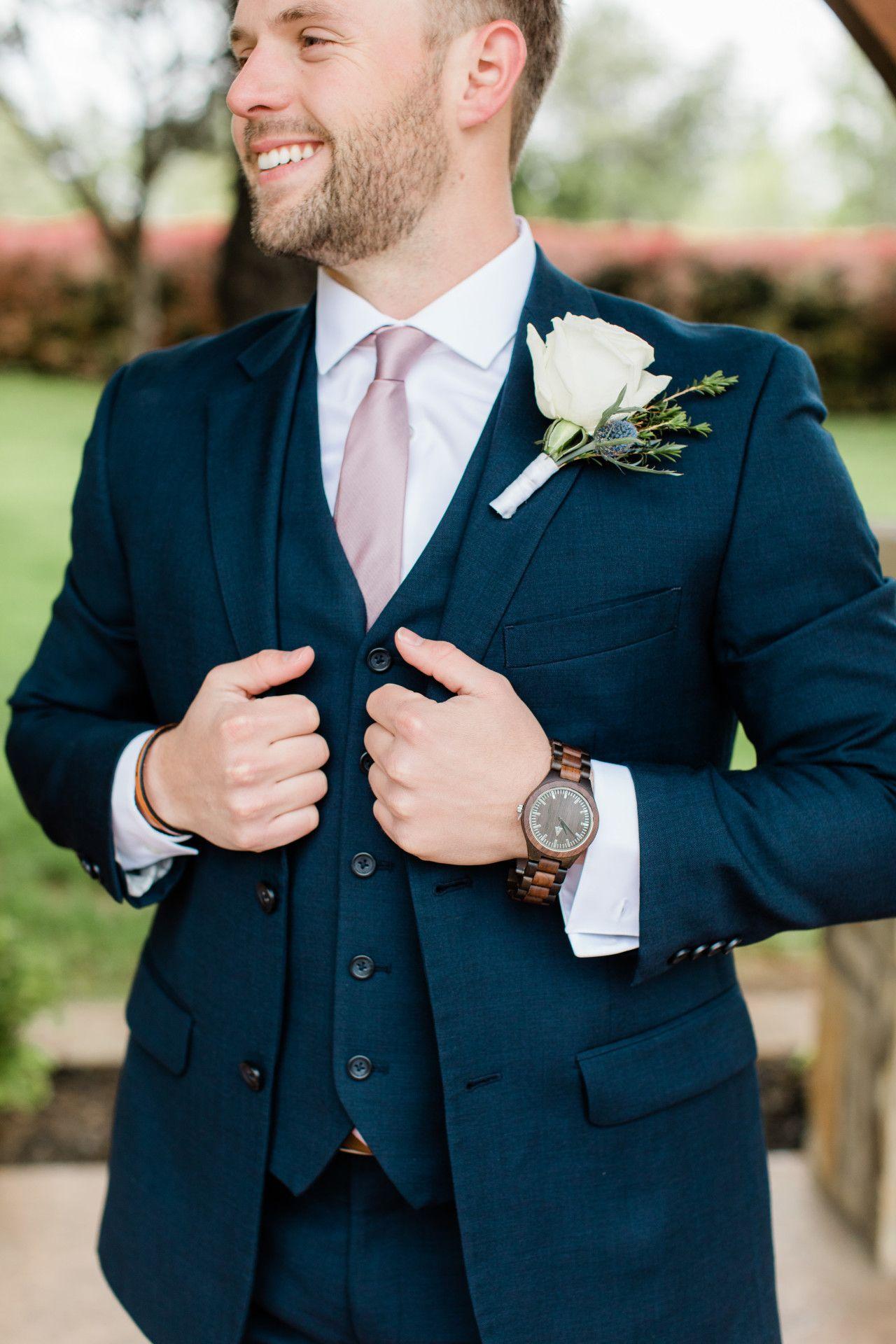 Groom In Navy Blue Groom With A Lavender Tie Spring Groom Attire Classy Spring Wedding Groo Groom Wedding Attire Navy Blue Groom Navy Blue Suit Wedding