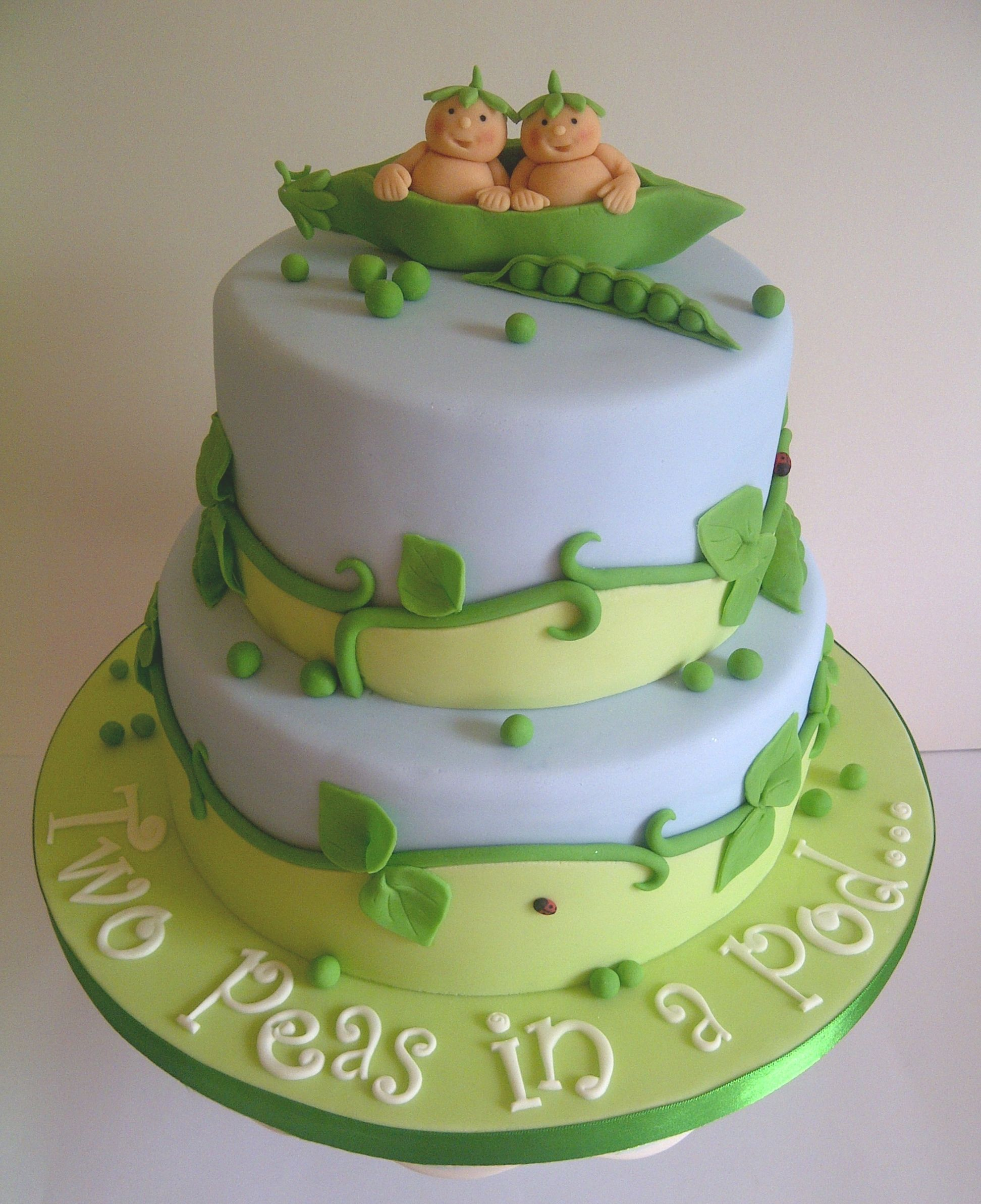 Two Peas in a Pod Twin Baby Shower cake by CakeyCake
