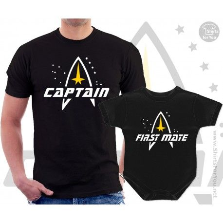 de44495ebd68 Star Trek Captain and First mate Matching T-Shirt and Onesie for Dad and  Baby, Father and child matching outfit for Star trek maniacs