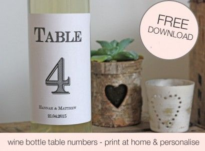 FREE Download Printable Wedding Table Numbers Template For Wine - Wine bottle label template free download
