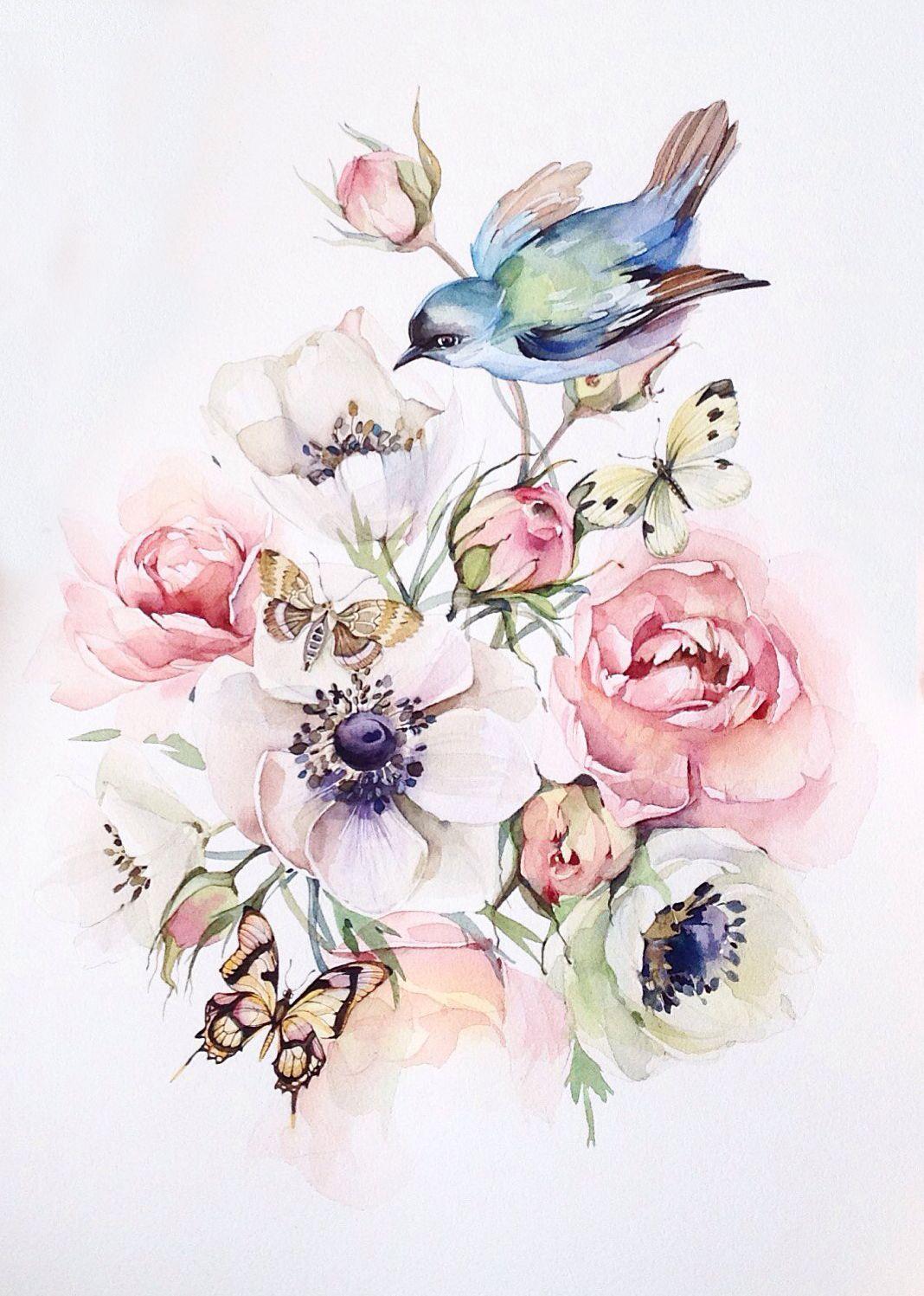 поспешили акварель птицы цветы картинки сколько подобных