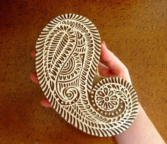 Large Paisley Stamp: Clay Stamp, Wall Hanging, Hand Carved Printing ...