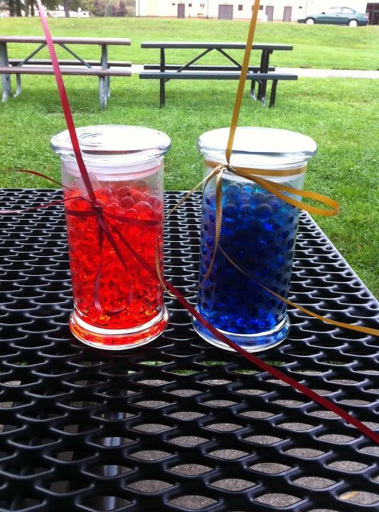Used My Empty Diamond Candles Jars As Balloon Weights For Sons Bday Party By Filling Them With Dyed Water Gems It Was Much Neater Than Having To