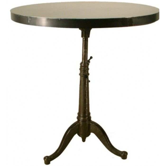 Vintage Industrial Antique 32 Inch Round Steel Bistro Table Height  Adjustable $675