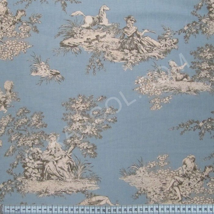 tissus french cottage toile de jouy bleu ciel rascol fabric pinterest toile de jouy. Black Bedroom Furniture Sets. Home Design Ideas