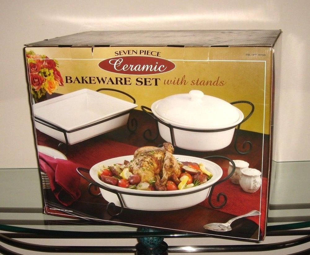 7 Piece Bakeware White Ceramic Stoneware Oven To Table