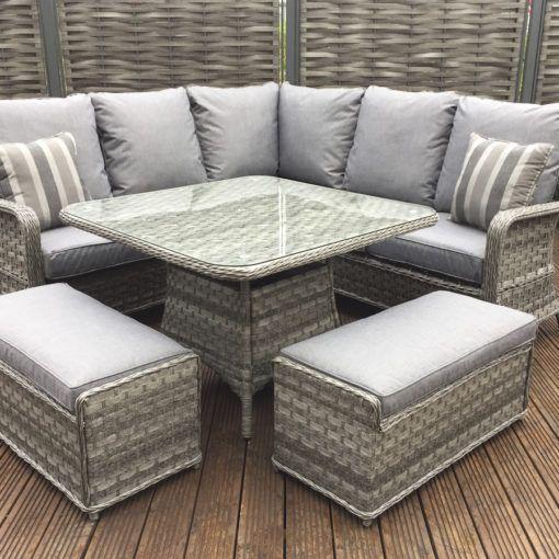 f228f3b174f3 Rattan Garden Furniture Mia grey corner sofa + Dining table +2 ...