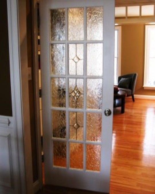 15 Light Raised Grid Door With Krinkel Glass On Perimeter And Clear 4 Part Star In Center With Diamonds On Glass French Doors Glass Decor Custom Stained Glass