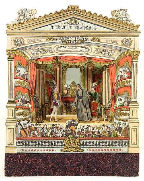 Théatre Francais. Épinal, Pellerin & Co., n.d. (±1870), theatre consisting of a col. lithogr. proscenium (42x38cm.), laid down on board and attached to a (later?) wooden frame, attached to a wooden stagefloor (15 cm. deep) and slots for attaching scenery, WITH: 5 (hand)col. lithogr. background scenes (18x22 to 22x25 cm.), each w. 4-6 (hand)col. lithogr. scenery flats, with ±30 figurines and a few props. One background scene with another on verso, showing a showing a Dutch town, with 5…