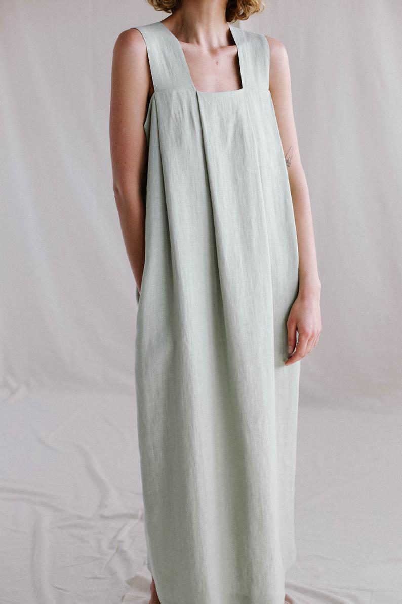 Origami linen dress / Linen loose fitting MAXI dress -   18 fitness Clothes loose ideas
