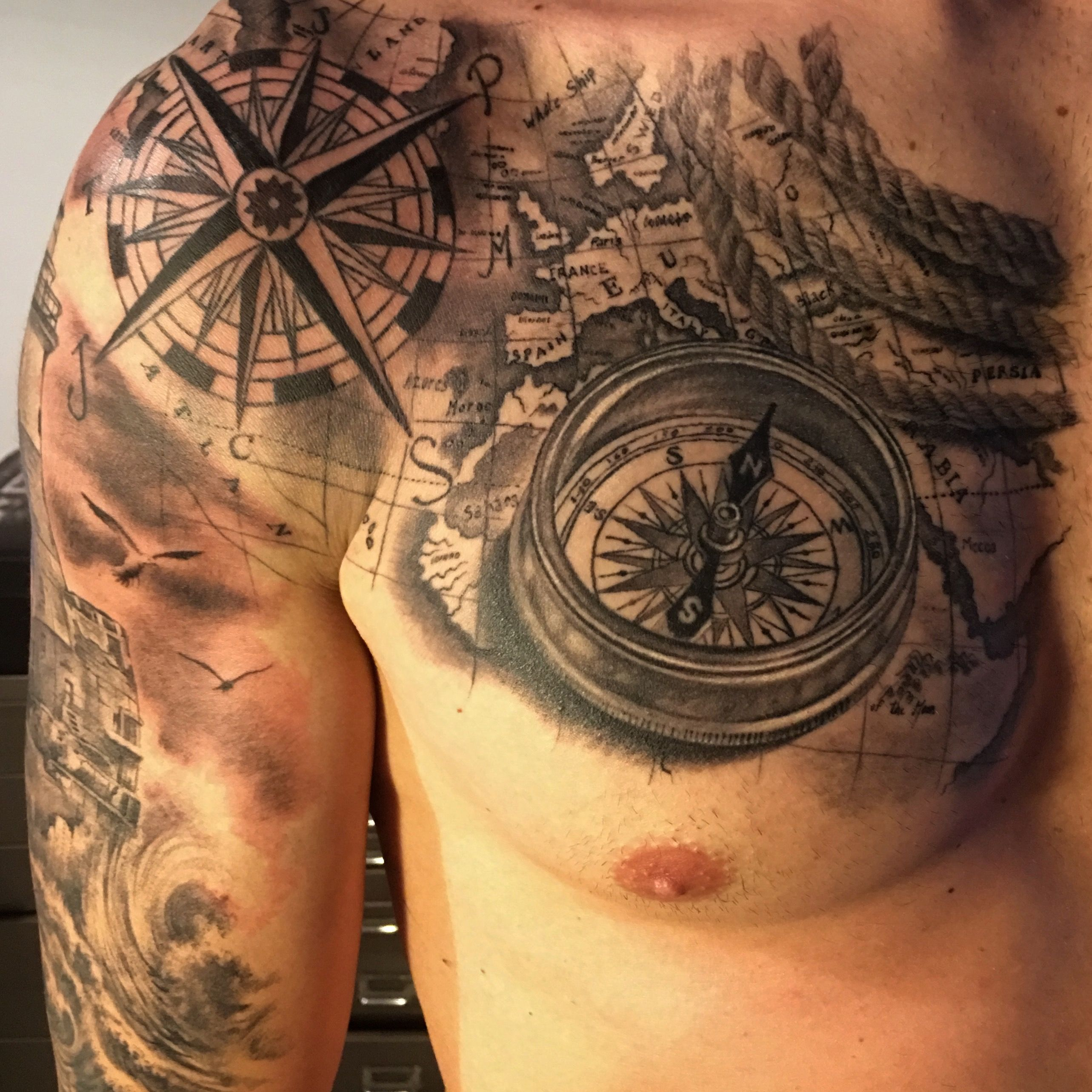 compass map tattoo by fabrizio converso some of my work pinterest map tattoos compass and. Black Bedroom Furniture Sets. Home Design Ideas