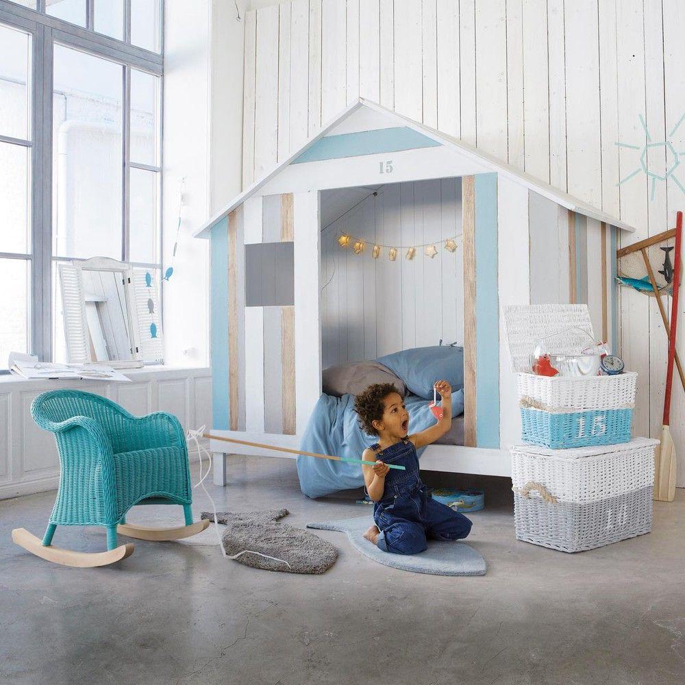 Hüttenbett für Kinder aus Holz, 90 x 190 cm, weiß/blau Océan ...