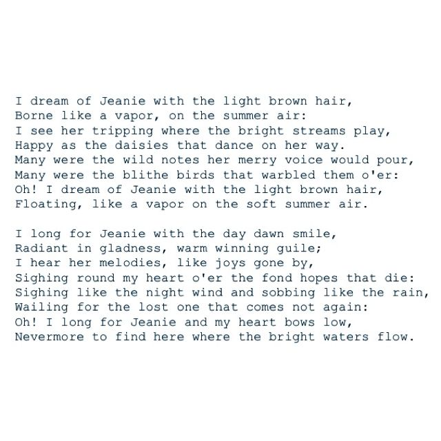 Stephen Foster Lyric Quotes Lyric Poem Light Brown Hair